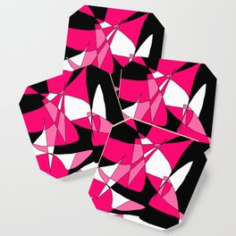 Windy Peaks - Abstract Pinks on Black Coaster