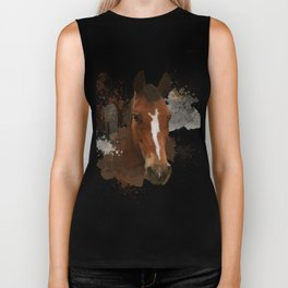 Brown and White Horse Watercolor Biker Tank