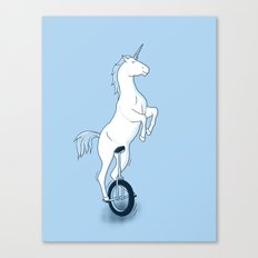 Unicorn on a unicycle - blue Canvas Print