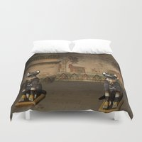 egypt Duvet Covers featuring Egypt temple  by nicky2342