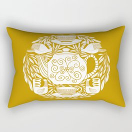 Tea Lovers Folk Art // Hand Drawn Teapot, Teacups, and Tea Leaves with Intricate Patterns // Mustard Rectangular Pillow