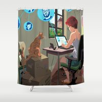 laptop Shower Curtains featuring Laptop by Josue Noguera