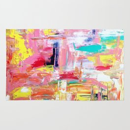 Contemporary Palette Knife Abstract Plaid 4 Rug
