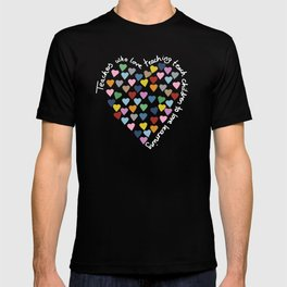 Hearts Heart Teacher Black T-shirt