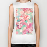 preppy Biker Tanks featuring Romantic Pink Retro Floral Pattern Teal Polka Dots  by Girly Trend