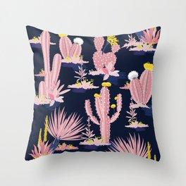 Kitschy Pink Cactus Cacti on Black Throw Pillow