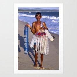 FISHERMAN on the BEACH in VIETNAM Art Print