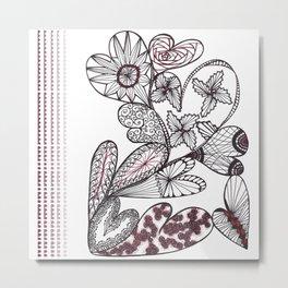 Heart on Heart Multi Doodle Zenart Design Metal Print