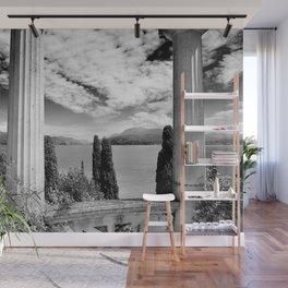 Roman Ruins, Garda, Sirmione, Italy landscape coastal black and white photograph / art photography  Wall Mural