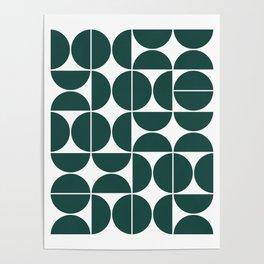 Mid Century Modern Geometric 04 Dark Green Poster