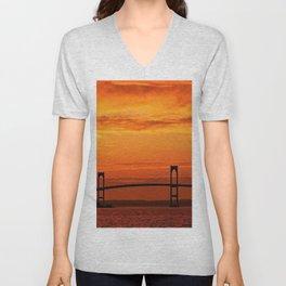 Newport Bridge - Newport, Rhode Island Orange Sunset Unisex V-Neck