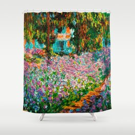 Claude Monet - Irises in Monet's Garden Shower Curtain