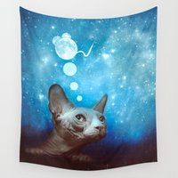 dreamer Wall Tapestries featuring Night Dreamer by SensualPatterns