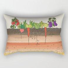 Earth soil layers vegetables garden cute educational illustration kitchen decor print Rectangular Pillow
