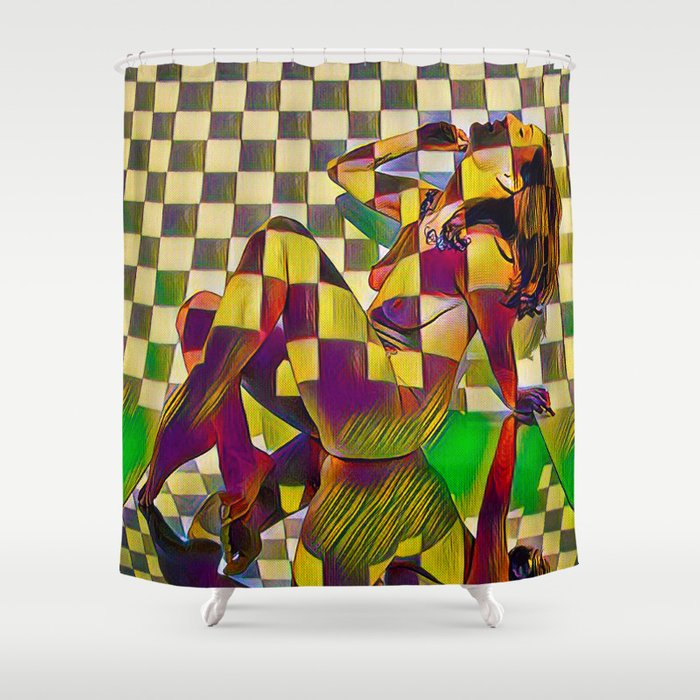 6097 KMA Checkerboard Nude Sitting On Mirror Shower Curtain