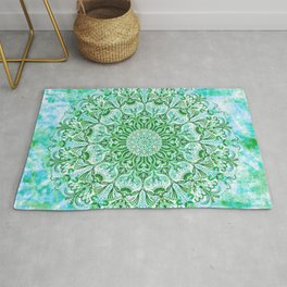 Ocean Aqua Blue Watercolor Mandala , Relaxation & Meditation Turquoise Flower Circle Pattern Rug
