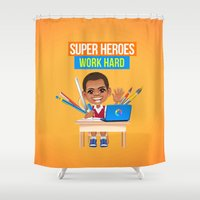 super heroes Shower Curtains featuring Super Heroes Work Hard by youngmindz