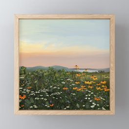 Field of Wildflowers Sunset Illustration Framed Mini Art Print