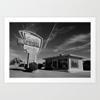 50s Art Prints featuring Bel Air 50s Motel by King Classics