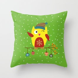 Cute Owl sitting on a branch with christmas baubles, Winter, X-mas Design Throw Pillow