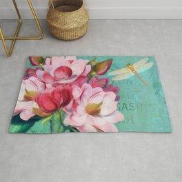 Verdigris Pink Magnolias Rug