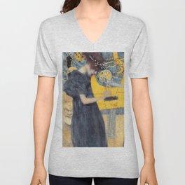 """Gustav Klimt """"Music (Die Musik)"""" Unisex V-Neck"""