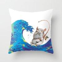 hokusai Throw Pillows featuring Hokusai Rainbow & Hippopotamus Fishing  by FACTORIE