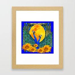 BLUE PEACOCKS MOON & FLOWERS FANTASY ART Framed Art Print