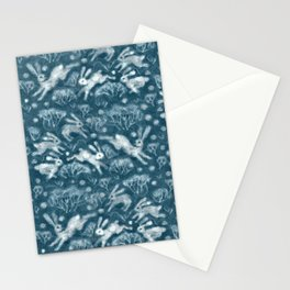 Hares in Snow Field, Winter Animals Rabbits Pattern Wool Texture Teal Stationery Cards