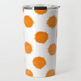 Orange Polka Dot Ink Spots Travel Mug