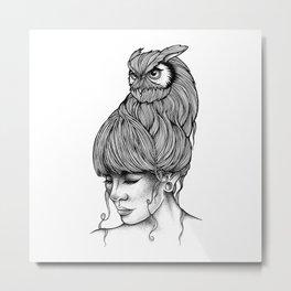 THE GIRL AND THE OWL Metal Print