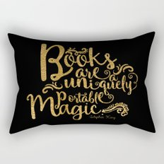 Books are a Uniquely Portable Magic Gold Rectangular Pillow