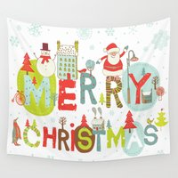 merry christmas Wall Tapestries featuring MERRY CHRISTMAS by Acus