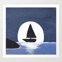 Moonlit Sailing Art Print