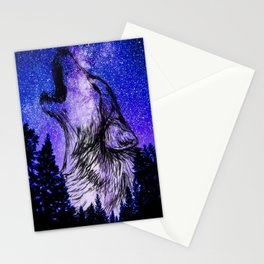 galaxy wolf drawing Stationery Cards