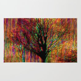 Abstract tree on a colorful background Rug