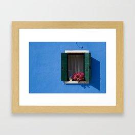 Window on blue Framed Art Print