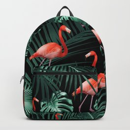 Tropical Flamingo Night Pattern #1 #tropical #decor #art #society6 Backpack