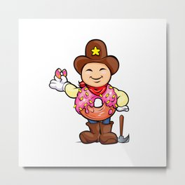 prospector donut cartoon Metal Print