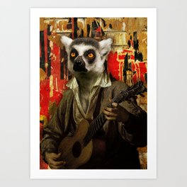 Lemur Busker in Paris Art Print