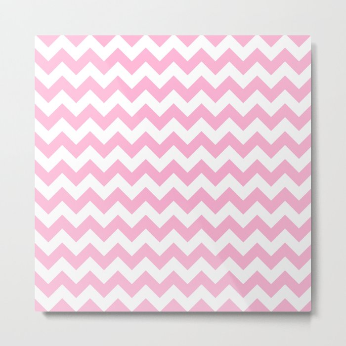 Rose Quartz Small Chevron Metal Print