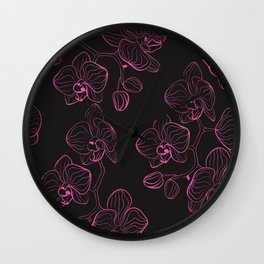 Seamless flower pattern with orchids phalaenopsis background Wall Clock