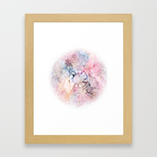 Whimsical white watercolor mandala design by inovarts