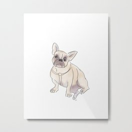Cafe Dogs: Binkie the Frenchie Metal Print