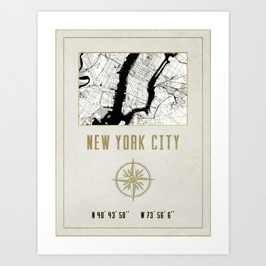 New York City Vintage Location Design Art Print