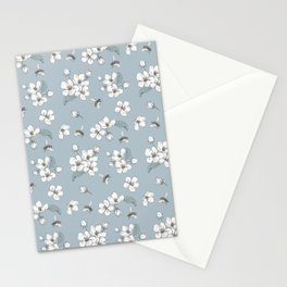 White flowers and bees pattern Stationery Cards
