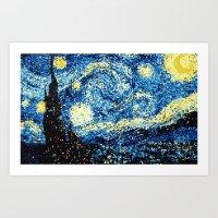 8-Bit Stary Night Art Print