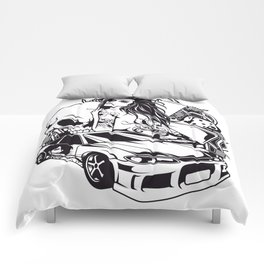 Tattoo GIRL with SKULL AND CAR - Snake Comforters