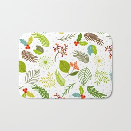 Falling forest leaves with snowflakes Bath Mat