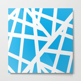Abstract Interstate  Roadways White & Aqua Blue Color Metal Print